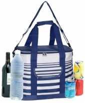 Koeltas draagtas schoudertas blauw wit gestreept 28 x 18 x 29 cm 12 liter