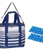 Koeltas draagtas schoudertas blauw wit gestreept met 2 stuks flexibele koelelementen 12 liter