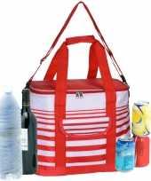 Koeltas draagtas schoudertas rood wit gestreept 28 x 18 x 29 cm 12 liter