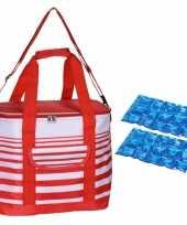 Koeltas draagtas schoudertas rood wit gestreept met 2 stuks flexibele koelelementen 12 liter