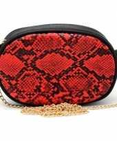 Zwart rood slangenprint heuptasje schoudertasje 19 cm